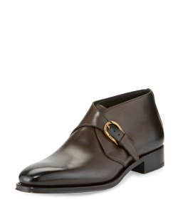 Salvatore Ferragamo Gervasio Tramezza Limited Edition Single-Monk Burnished Brown Calfskin Boots