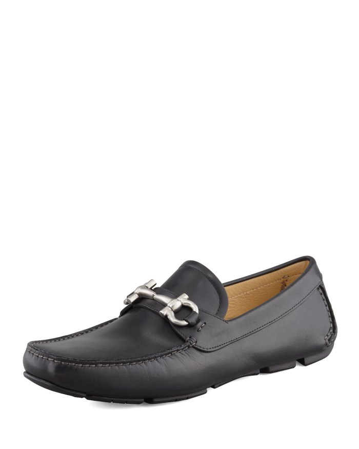 Salvatore Ferragamo Parigi Black Leather Gancini Driver Shoes