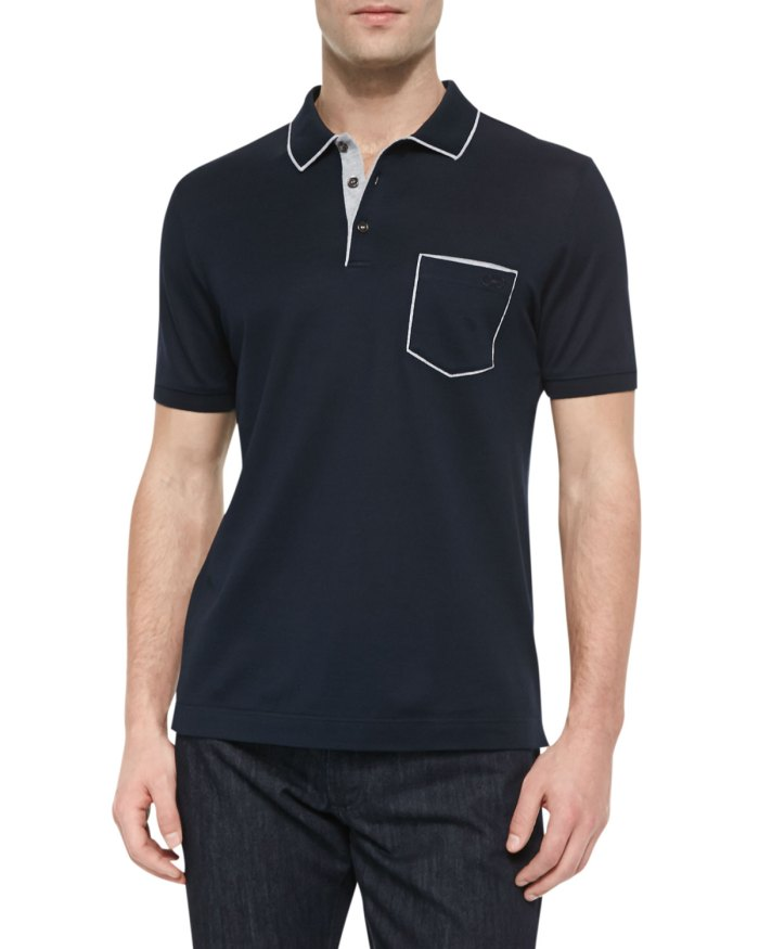 Salvatore Ferragamo Tipped Pocket Navy Polo Shirt