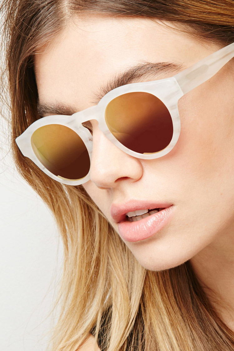 Sicky Eyewear Matte Ivory Mirrored Womens Sunglasses