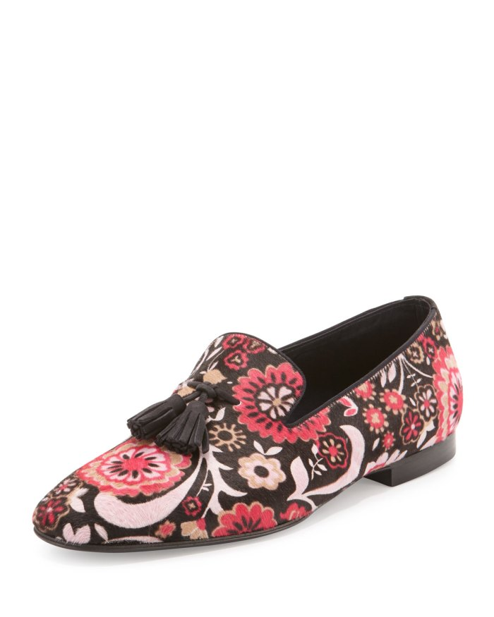 TOM FORD Chesterfield Floral-Print Calf Hair Tassel Loafer Shoes