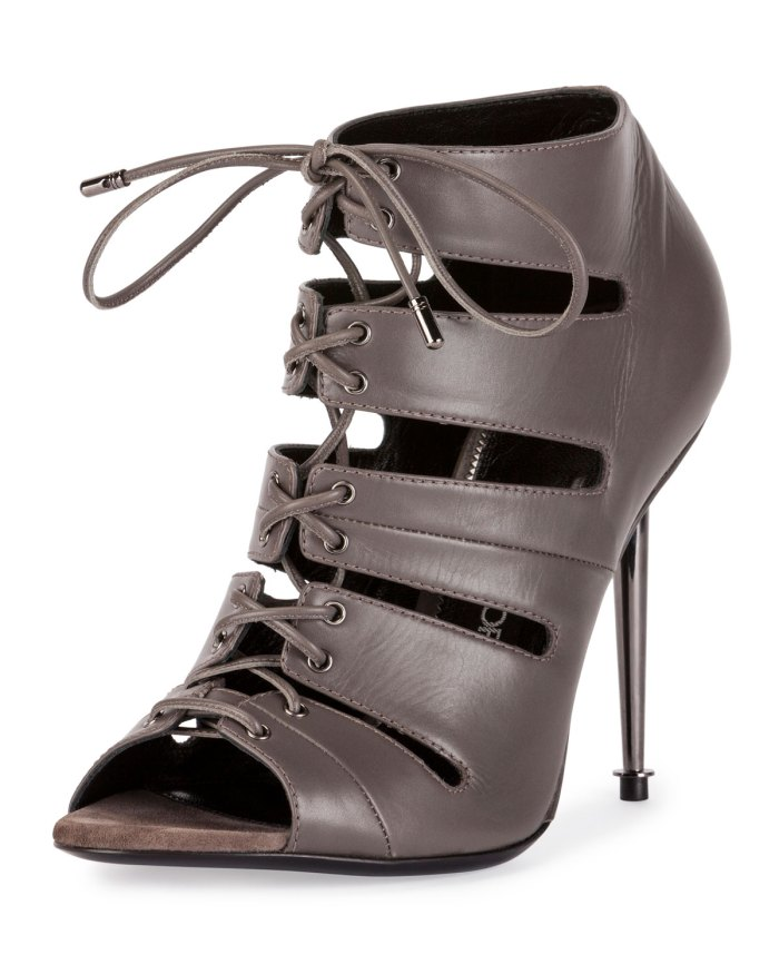 TOM FORD Open-Toe Graphite Lace-Up 105mm Bootie Shoes