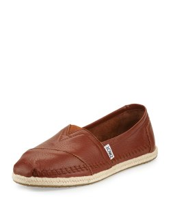 TOMS Alpargata Medium Brown Leather Slip-On Flats