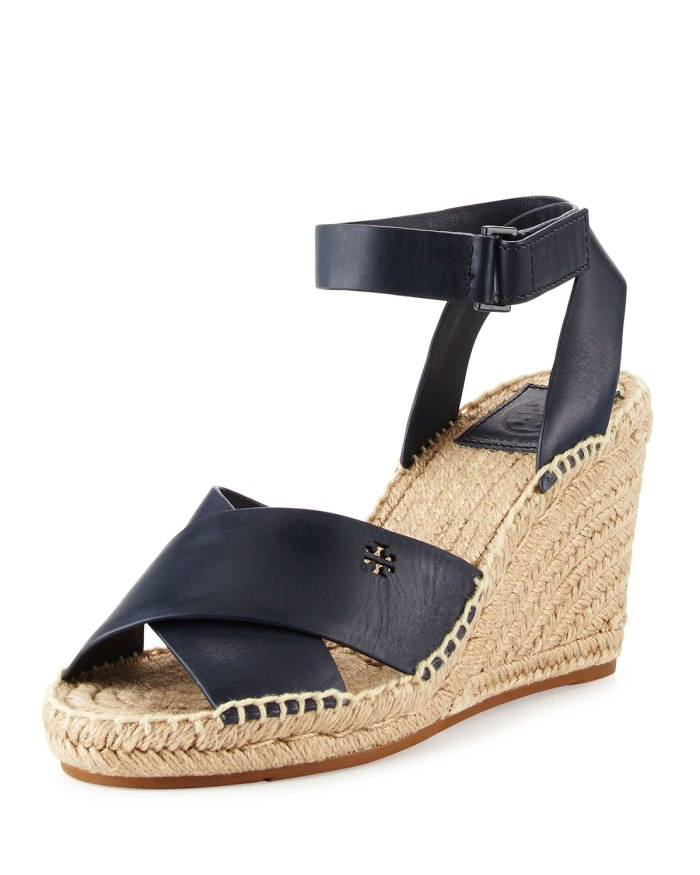 Tory Burch Bima Leather Wedge Espadrille Sandals