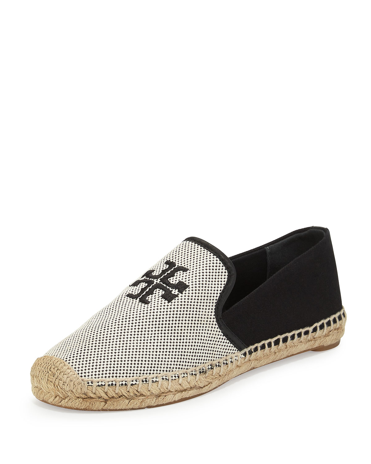 Tory Burch Vargas Canvas Leather Espadrille Shoes