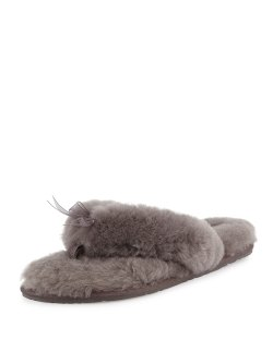 Ugg Fluff Fur Flip Flop Gray Slippers