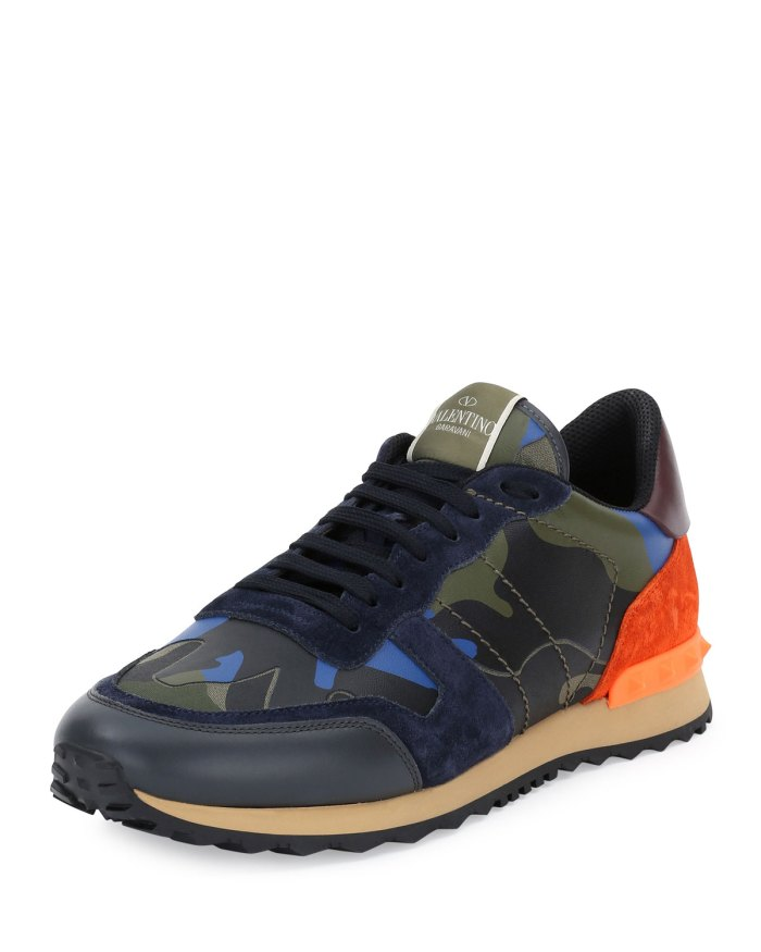 Valentino Rockrunner® Leather Camo-Print Trainer Sneakers