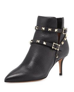 Valentino Rockstud Black Leather 65mm Ankle Bootie Shoes