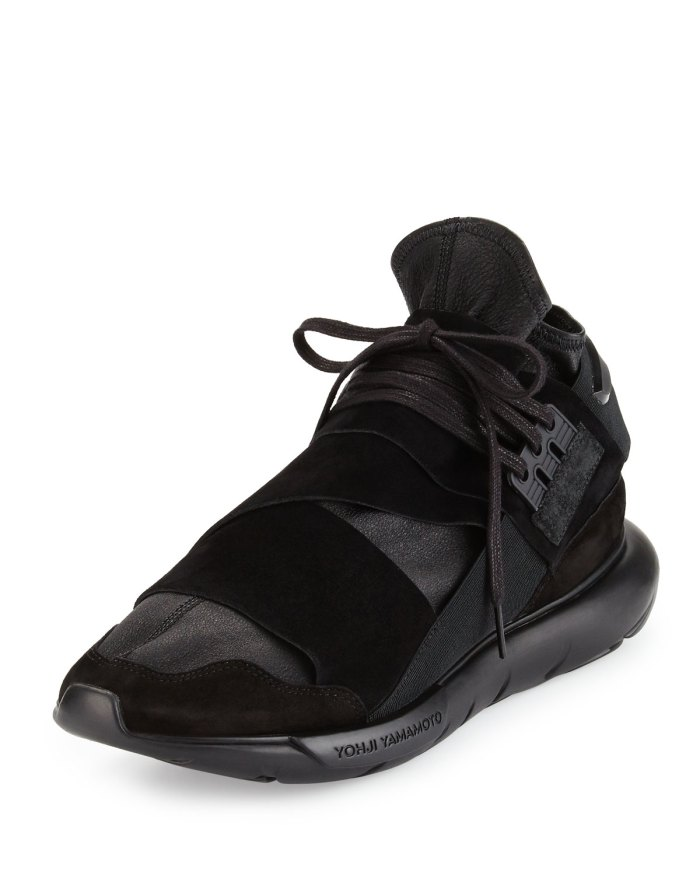 Y-3 Qasa Mens High-Top Black Leather Trainer Sneakers