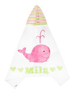 Boogie Baby Hooded White & Pink Whale Towel