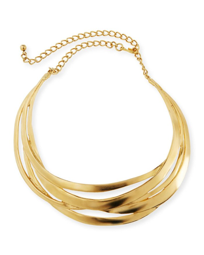 Kenneth Jay Lane Cutout Golden Collar Necklace