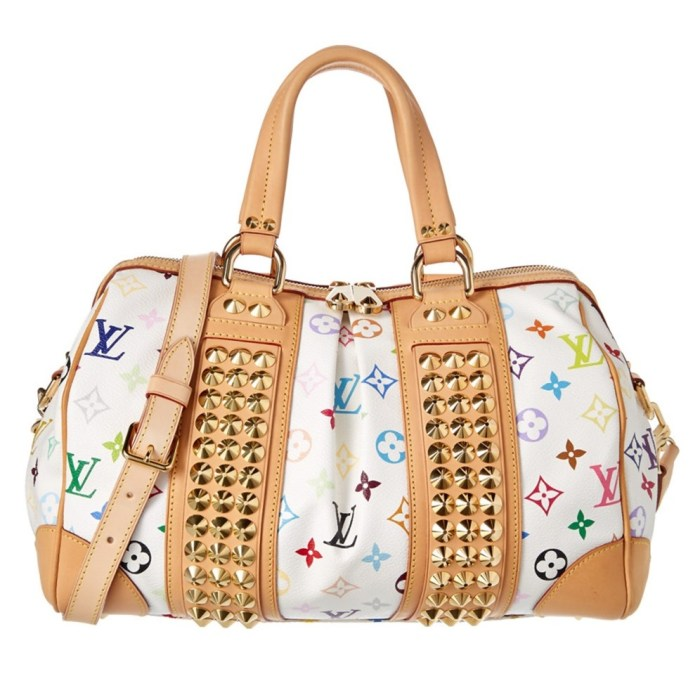 Louis Vuitton Pre-Owned White Multicolor Monogram Canvas Courtney Handbag