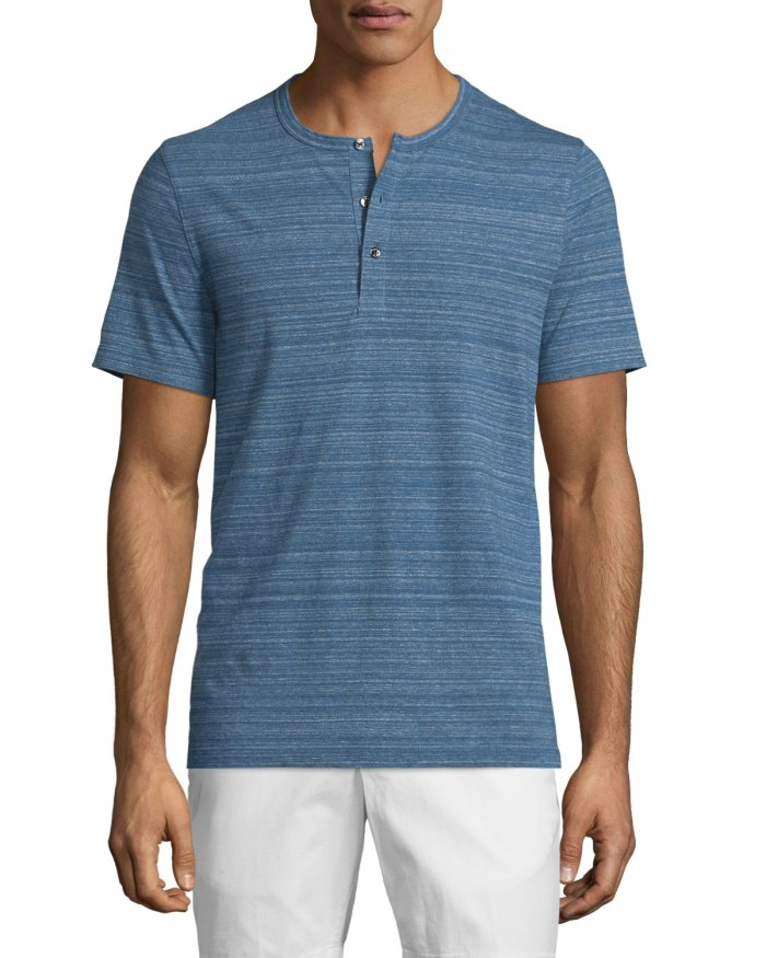 MICHAEL KORS Space-Dye Short-Sleeve Henley Tee