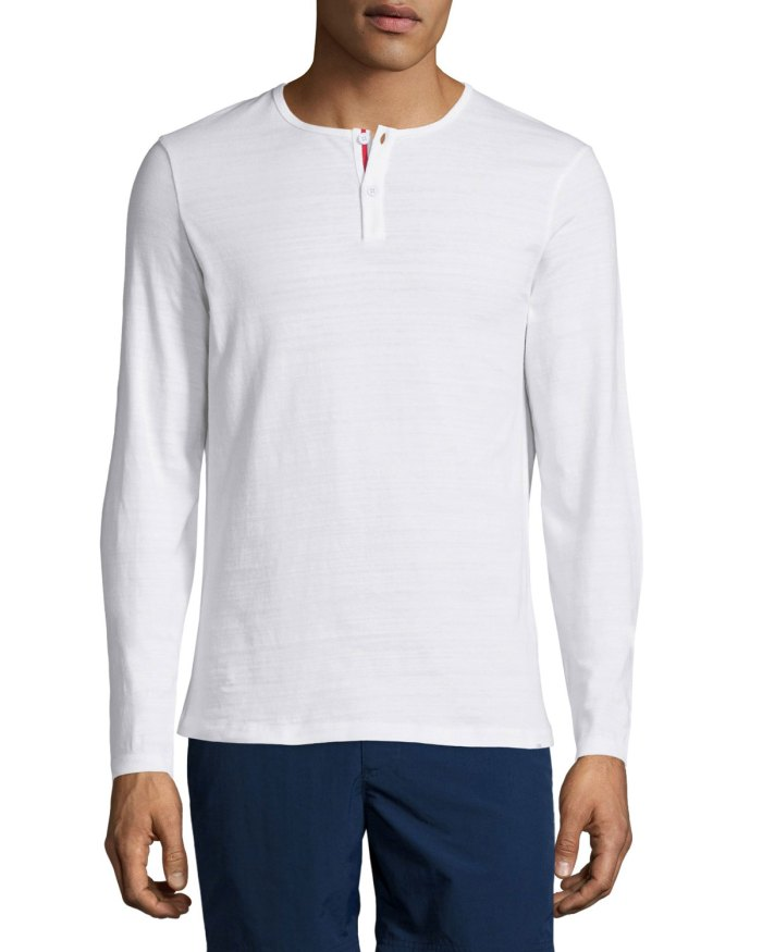Orlebar Brown Long-Sleeve White Henley Shirt