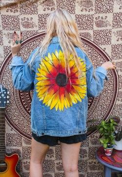 Handpainted Vintage Sunflower Reworked Denim Jacket