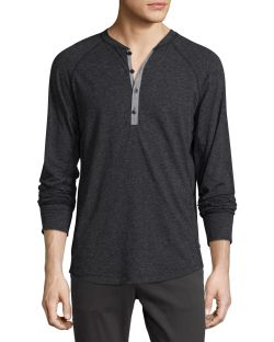 The Good Man Brand Contrast-Placket Slub Henley T-Shirt