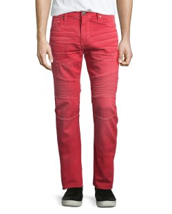 True Religion Rocco Active Cho Red Moto Denim Jeans