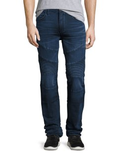 True Religion Rocco Moto Straight-Leg Denim Indigo Jeans