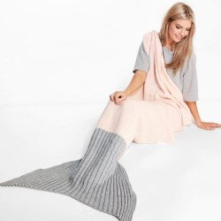 Mermaid Tail Blanket with Two Tone Contrast Color