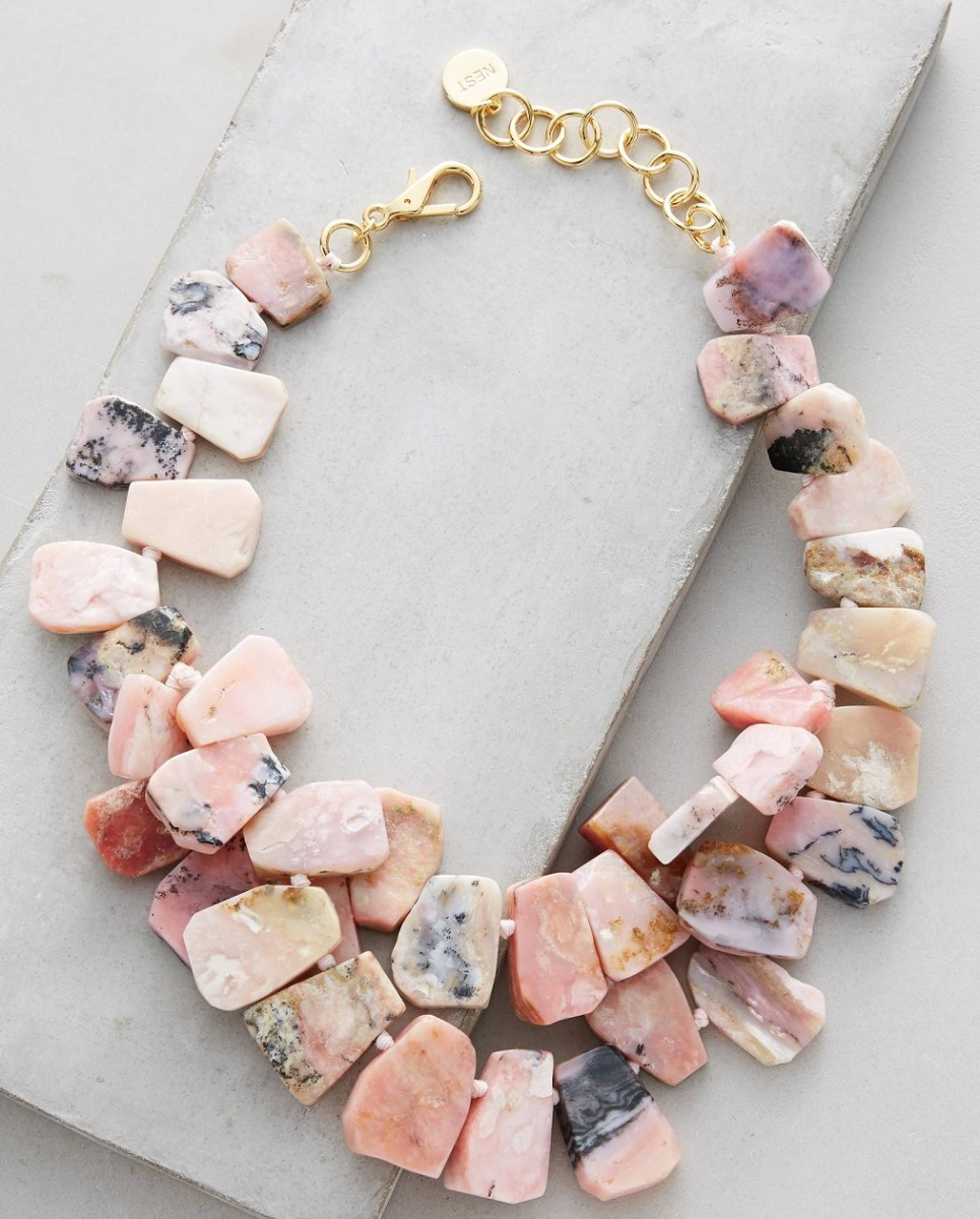 Nest Jewelry Budelli Pink Opal Handmade Bib Necklace