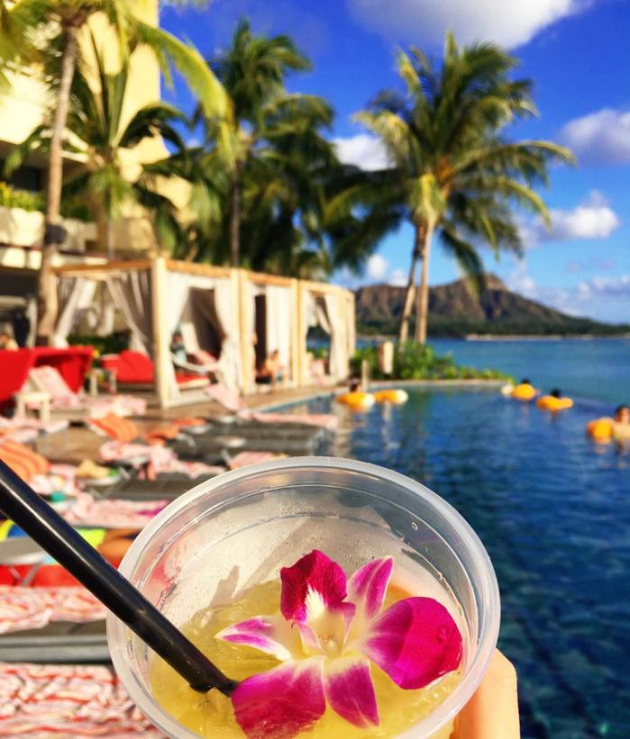 Island Style Drink from the Edge of Waikiki Pool Bar at the Sheraton Hotel