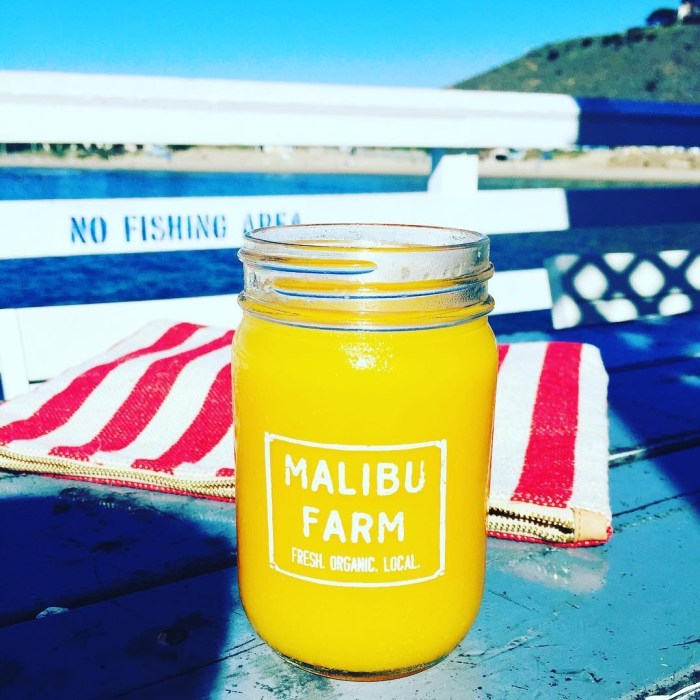 Fresh Orange Juice at the Malibu Farm Pier Cafe