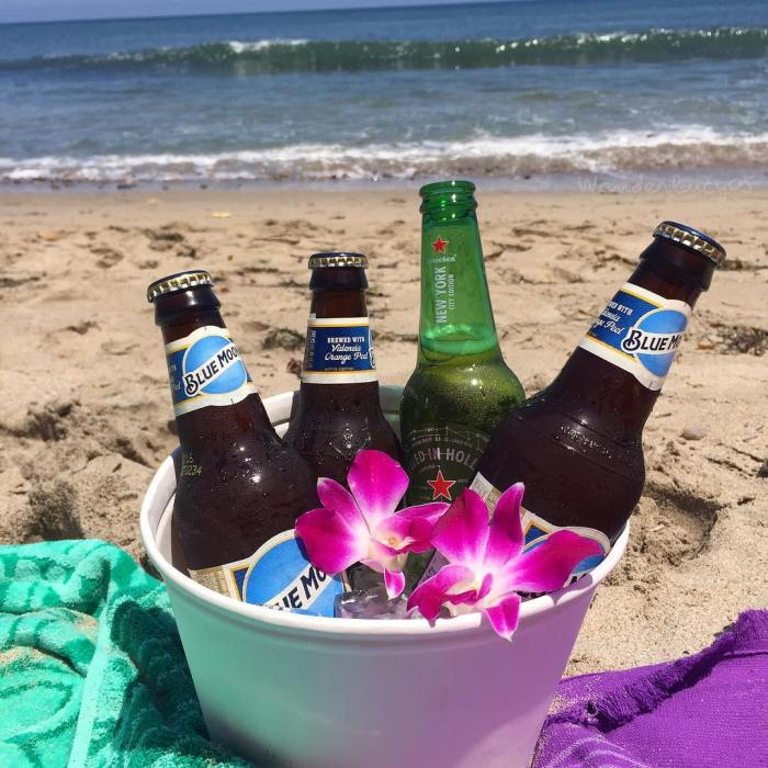 Bucket of Beers on the Beach at Paradise Cove in Malibu California