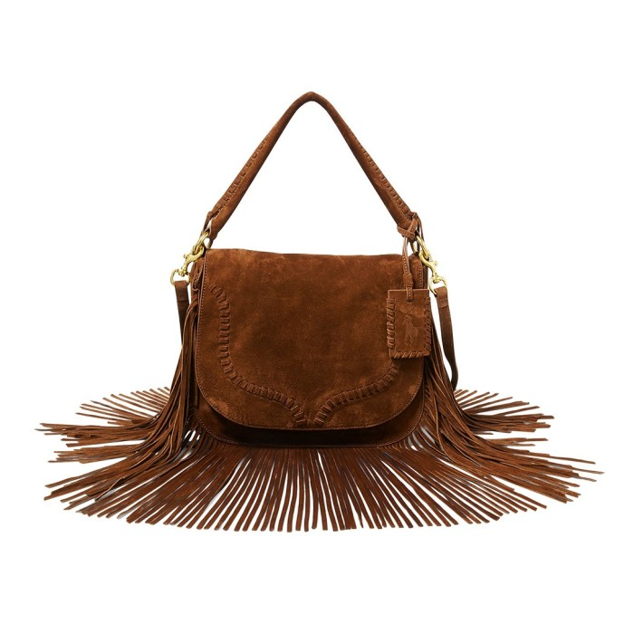 Polo Ralph Lauren Bohemian Fringed Suede Saddle Bag
