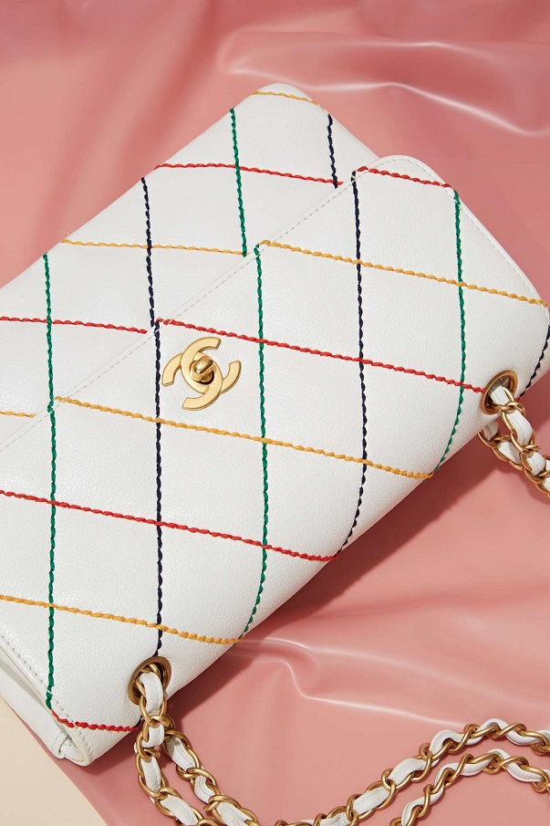 Vintage Chanel White Multicolored Leather Bag