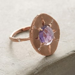 Amethyst Oval Ring Handmade in Los Angeles
