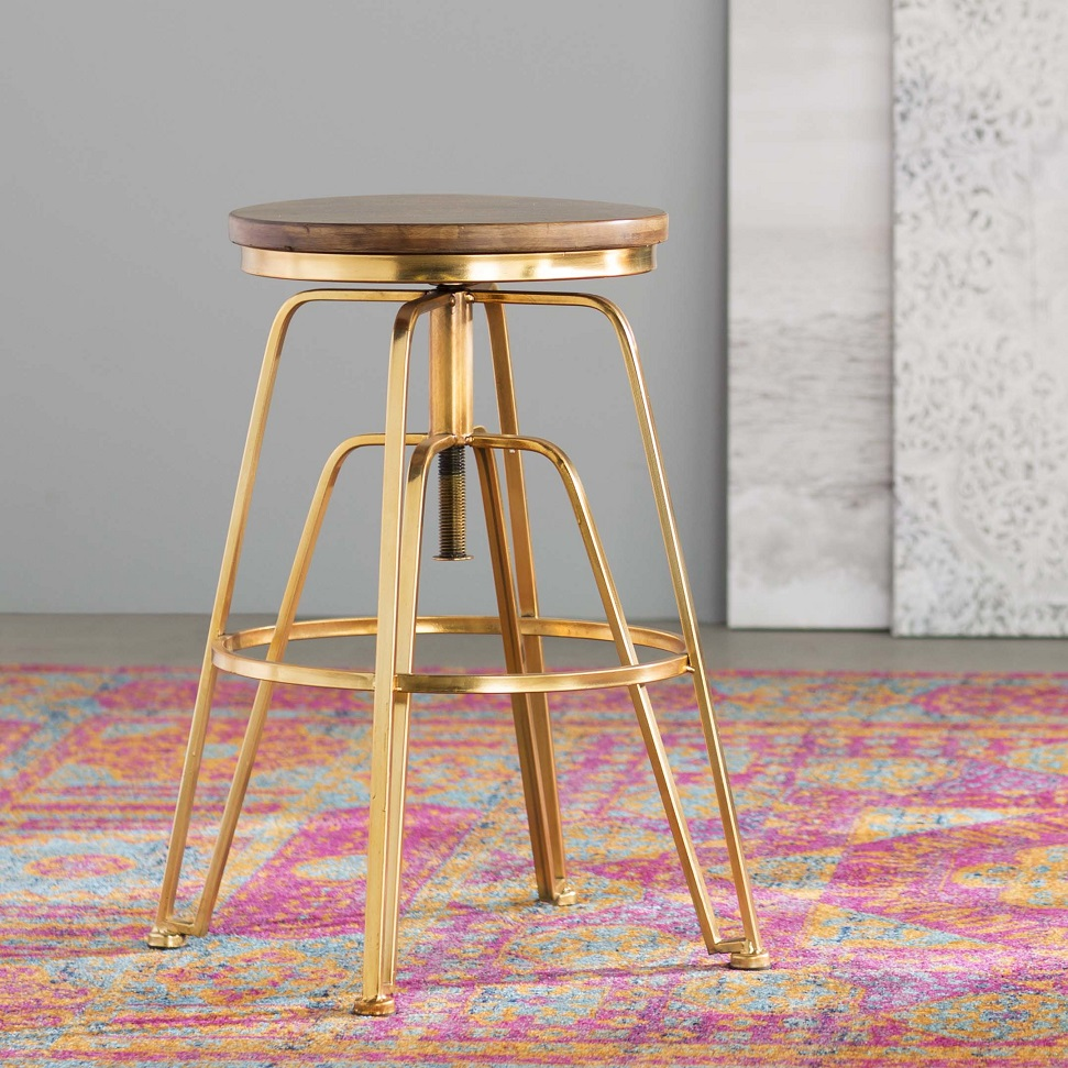 Zosia Adjustable Height Bar Stool by Bungalow Rose