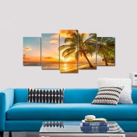Beach in Paradise 5 Panel Canvas Photography Wall Art ...