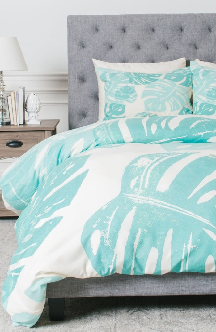 Linocut Monstera Leaf Print Duvet Cover & Sham Set by Deny Designs