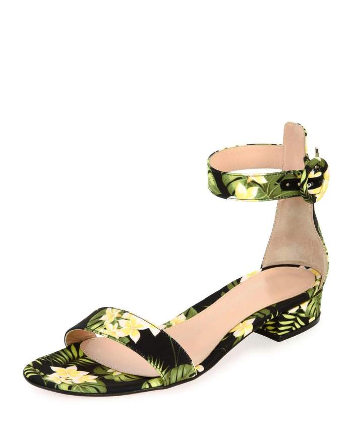 Gianvito Rossi Lola Flat Floral Ankle-Wrap Womens Sandals