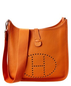 Hermes Orange Clemence Leather Evelyne I Gm Handbag