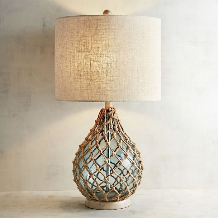 Rope and Sea Glass Table Lamp