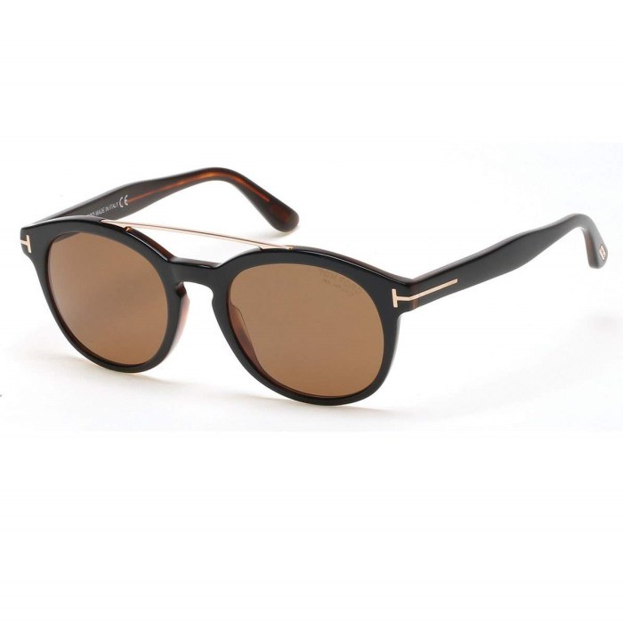TOM FORD Newman Round Shiny Acetate Black Sunglasses