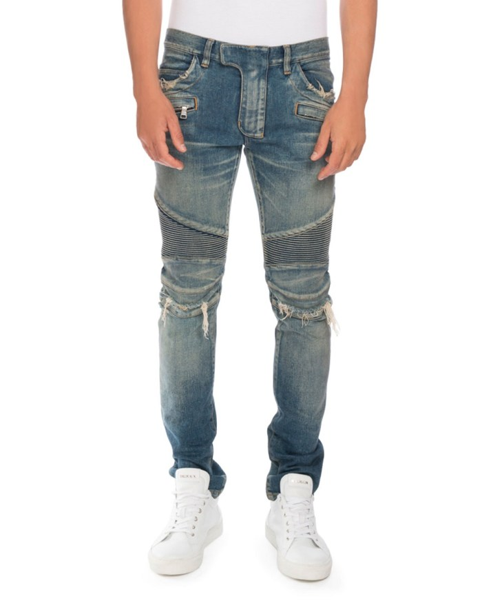 Balmain Distressed Denim Mens Blue Moto Jeans