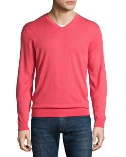 Cashmere-Silk Grapefruit Mens V-Neck Sweater by Neiman Marcus