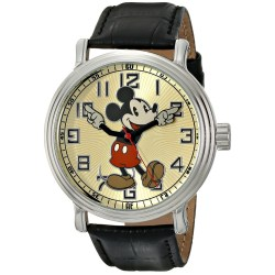 "Disney ""Vintage Mickey Mouse"" Watch with Black Leather Band"