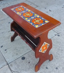 Malibu Vintage Table with Magazine Rack California Tile