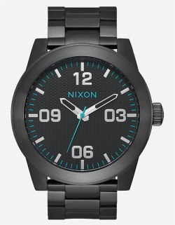NIXON Corporal SS Black & Turquoise Watch