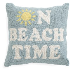 On Beach Time 18×18 Hook Pillow