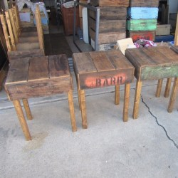 Vintage Rustic Reclaimed Wood End Table Old Farm Fruit Crate Nightstand