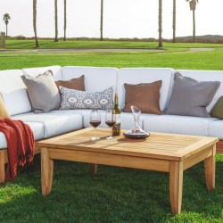 Teak Wood Luxurious 5pc Sectional Sofa Set Collection