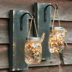 Mason Jar Lantern Sconce Handcrafted Rustic Decor Lights