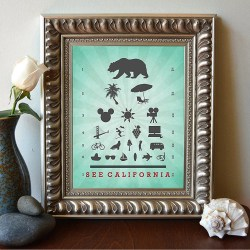 See California Eye Chart Vacation Art Print