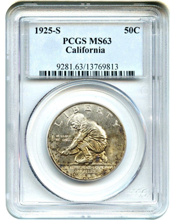 1925 S Silver Commemorative California Half Dollar MS63 PCGS Collectible Like New