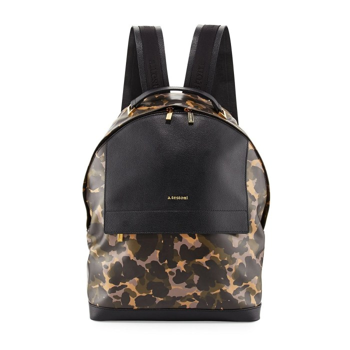 A. Testoni Camouflage Leather Backpack
