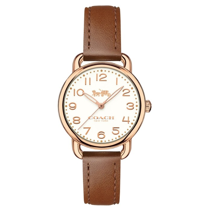 COACH Delancey Rose Gold 28mm Brown Leather Strap Womens Watch